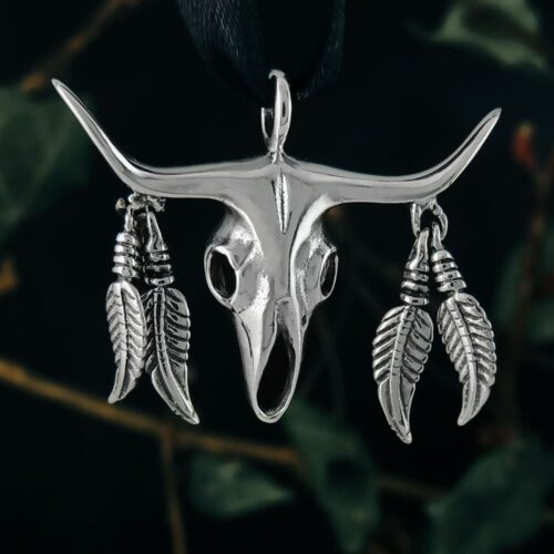 bull-skull-with-feathers-sterling-silver-pendant