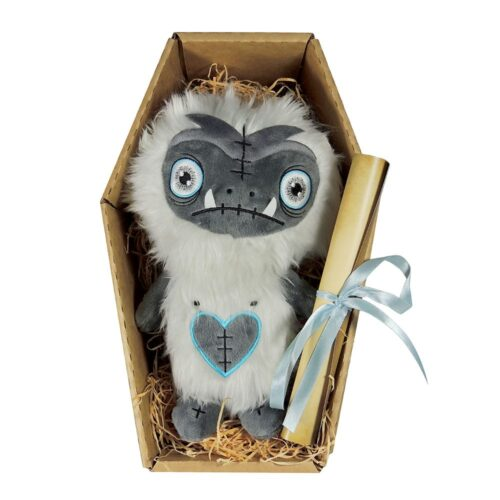 The cute and cuddly Cedric is an 11inch plush accompanied by an Undead Certificate & Coffin Box. His main features are his fluffy white fur and detailed embroidered eyes & stitches.