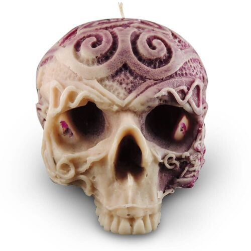 celtic-skull-candle-mauve-and-cream-wax