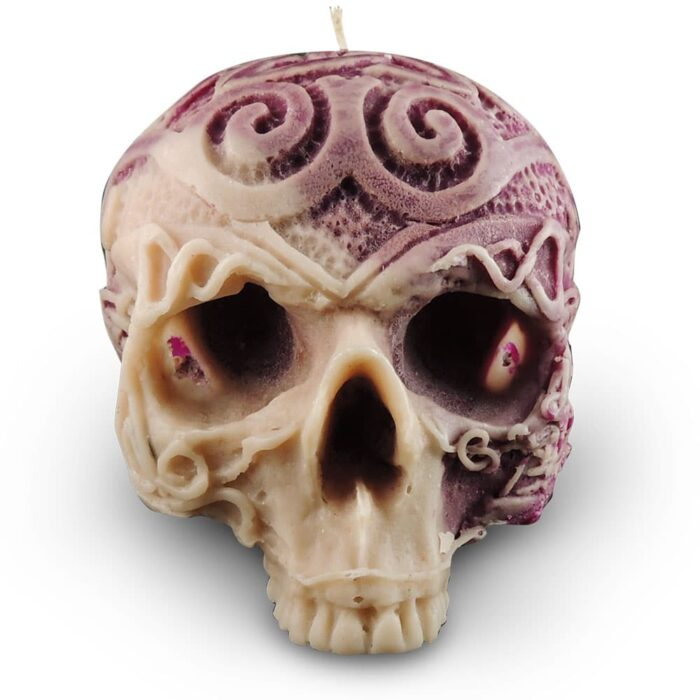 celtic-skull-candle-mauve-and-cream-wax