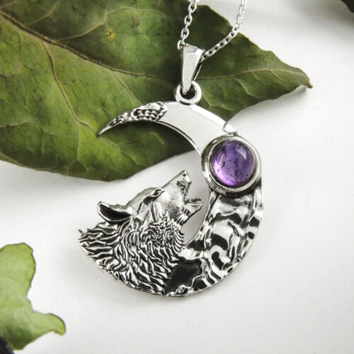 crescent-moon-with-howling-wolf-amethyst-pendant-sterling-silver
