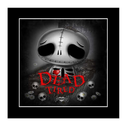 dead-tired-skully-mounted-print