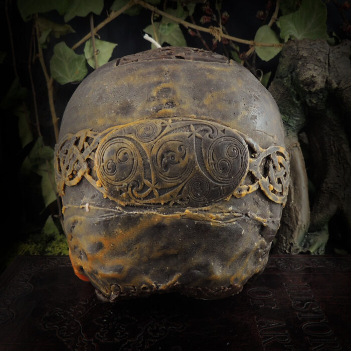 orange-and-brown-celtic-viking-skull-candle-back-view