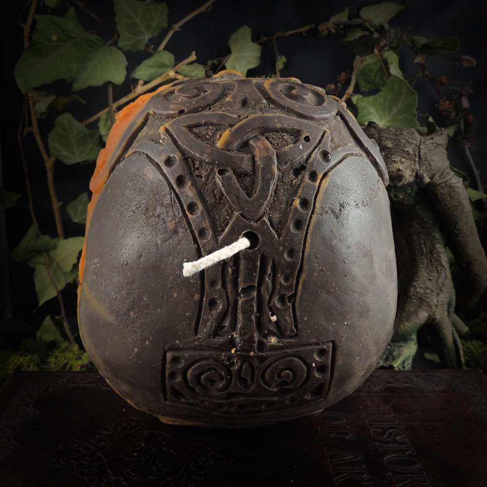 orange-and-brown-celtic-viking-skull-candle-top-view