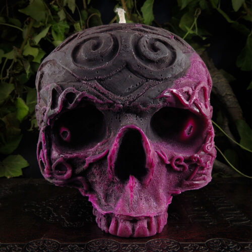 grey-purple-skull-candle