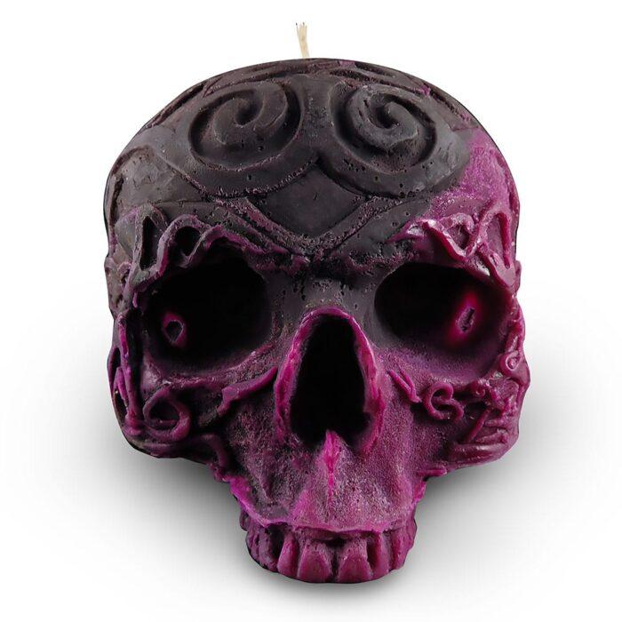 grey-purple-skull-candle