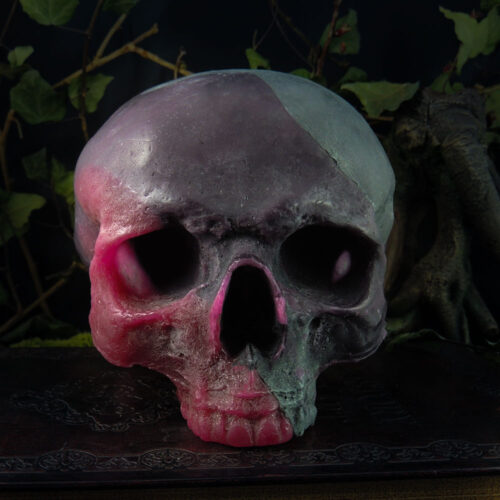 life-size-scented-wax-skull-candle-in-red-and-black