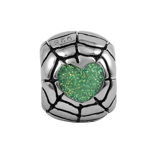sparkly-iridescent-green-heart-web-bead-front