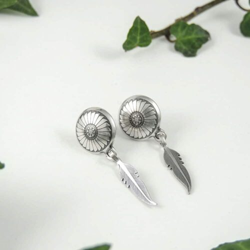 sterling-silver-spiral-disc-and-feather-earrings