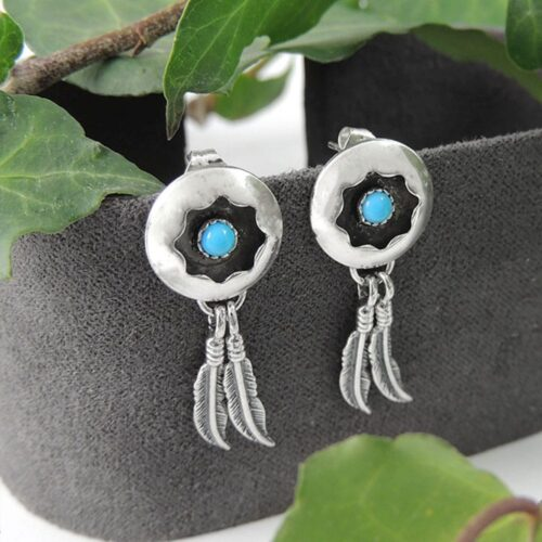 sterling-silver-turquoise-spiral-disc-and-feather-earrings